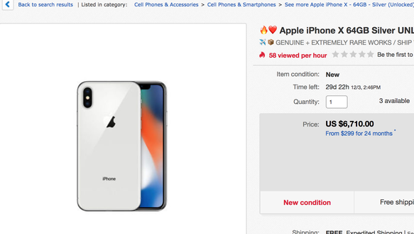 A listing for a new iPhone X for $6,710 on eBay. The