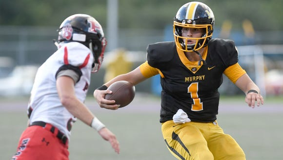 Murphy quarterback Joey Curry comes face-to-face with