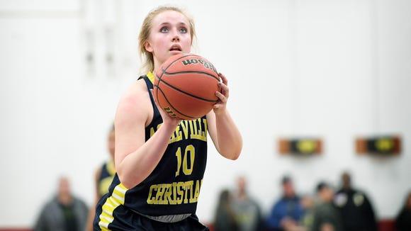 Asheville Christian Academy's Emma Newton shoots a