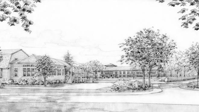 An artist's rendering of the proposed French-American School of New York campus at the former Ridgeway Country Club.