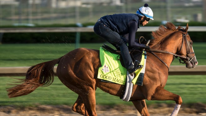 Kentucky Derby contender Good Magic works out at Churchill Downs. April 28, 2018.