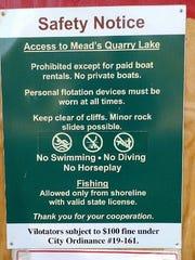 Mead's Quarry Lake notice