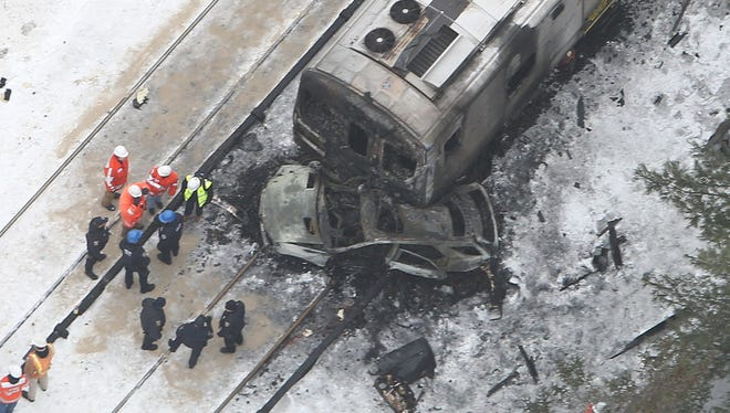 Aerial view, shot Wednesday, of Tuesday's train accident in Valhalla