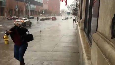 Rain swept across Rochester on Wednesday.