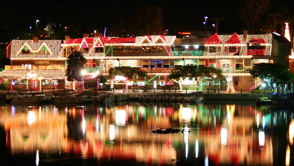 The English village in Lake Havasu City is lit up for