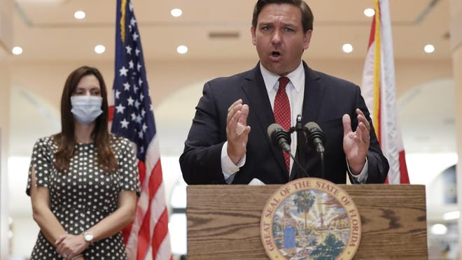 Florida Gov. Ron DeSantis has worked to improve the COVID-19 testing process at the state's elder care facilities. AP ARCHIVE