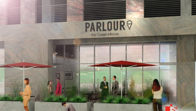 The exterior of Parlour Ice Cream House in Washington Square is shown In this architectural rendering. The ice cream shop by CH Patisserie's Chris Hanmer is scheduled to open in the spring.