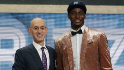 Jaren Jackson, Jr. (Michigan State) greets NBA commissioner