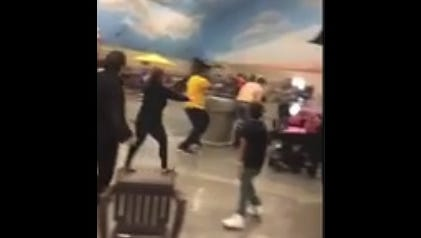 A brawl at a Wisconsin Dells area waterpark on Mother's Day started when someone took a chair from another group's table.