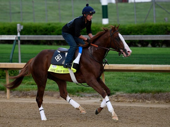 An exercise rider works Belmont Stakes entry Free Drop Billy at Churchill Downs last month.