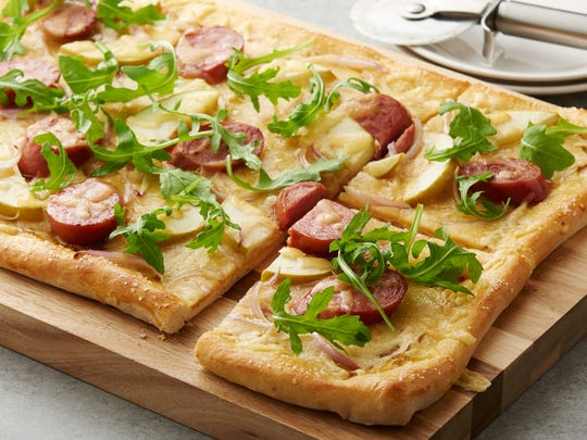 Sarah Campbell's winning Oktoberfest Pizza features kielbasa, smoked gouda and green apples on a pretzel-like crust.