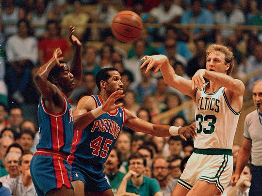 FILE - Former Boston Celtics great and current Pacers president of operations Larry Bird had 59 triple-doubles during his NBA career.