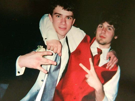 Marc Brumbaugh, left, and Bryon Rock, pictured at a high school dance.  Brumbaugh died in April 2018 at age 27, and Rock died in November 2014 at age 24. Both lived in Waynesboro.