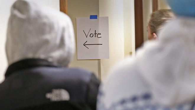 Almost there, voters wait to vote at the polling site at Morning Side at College Park senior living community, Tuesday, November 8, 2016.