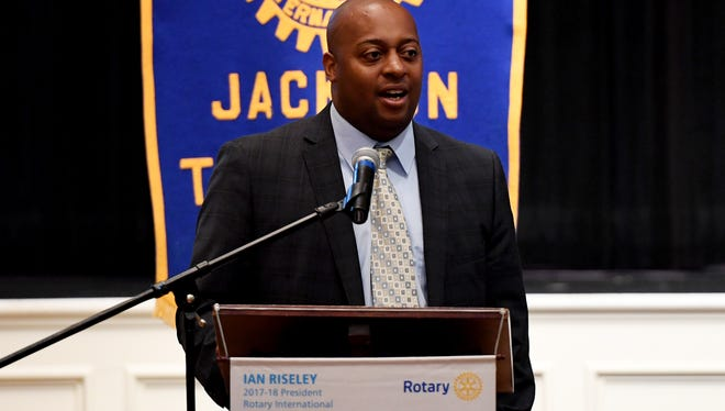 Jackson Madison County Schools Superintendent Dr. Eric Jones spoke to members of the Jackson Rotary Club during their meeting, Wednesday, July 26 at First United Methodist Church.