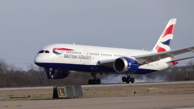 British Airways' Dreamliner touches down on the carrier's first-ever flight to Austin.