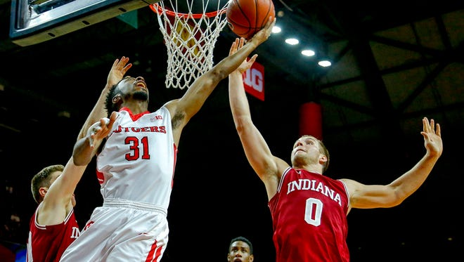 IU's Max Bielfeldt (right) scored 18 points in the Hoosiers' win over Rutgers on Dec. 30.