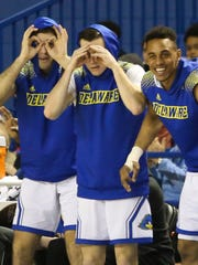 Delaware's (from left) Connor Rufo, Curtis Lochner