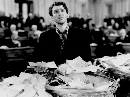 """Jimmy Stewart's character takes on the political power structure in the 1939 movie """"Mr. Smith Goes to Washington,"""" directed by Frank Capra"""