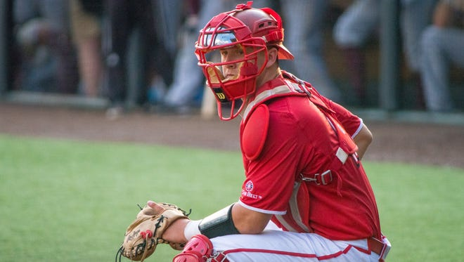 UL catcher Kole McKinnon, shown here playing against UL Monroe last week, was able to play on despite experiencing a stinger as the result of a collision during the Cajuns' 19-16 Sun Belt Tournament win over Little Rock on Thursday.