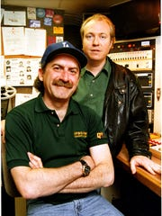 Bob Kevoian (left) and Tom Griswold in the early days at Q-95.