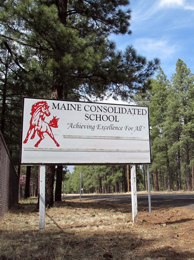 This photo taken Tuesday, May 1, 2018, shows a marquee at the entrance to the Maine Consolidated School in Parks, Arizona. The small district has bucked the trend in staying open during widespread teacher walkouts in Arizona.