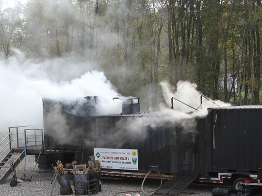 Firefighters inside this mobile laboratory from Oakland Community College experienced the conditions of a flashover.