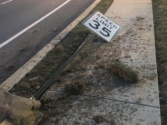 Chambersburg Police are looking for the driver and vehicle responsible for crashing into this speed limit sign and uprooting it from the ground on March 13 in the area of 983 Norland Avenue.