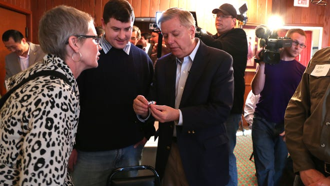 U.S. Sen. Lindsey Graham, R-S.C., meets with Iowans on Friday at Noah's Ark in Des Moines.