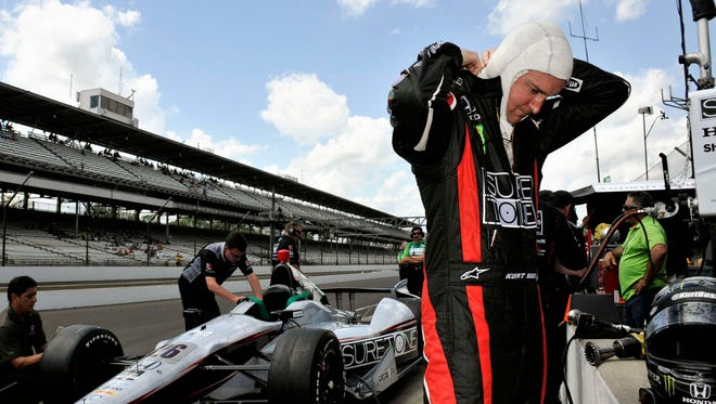 Kurt Busch prepares for the first day of practice for the 2014 Indianapolis 500 on May 11, 2014.