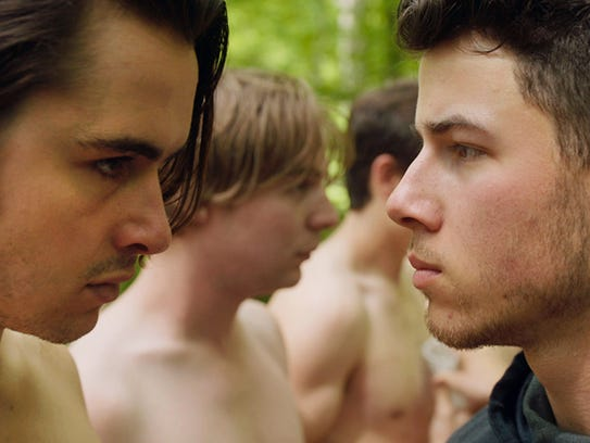 Ben Schnetzer and Nick Jonas in a scene from 'Goat.'