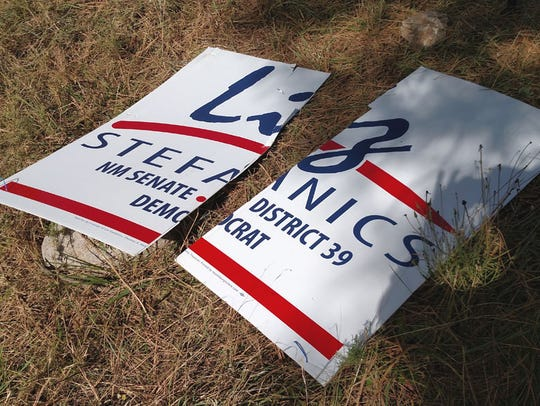 In this heated campaign season, destruction of signs