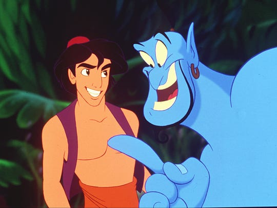 Aladdin and Genie (voiced by Robin Williams) in Disney's