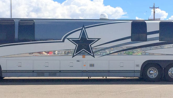 This RV decked out in Dallas Cowboys attire was parked out front of Walmart on Tuesday morning.
