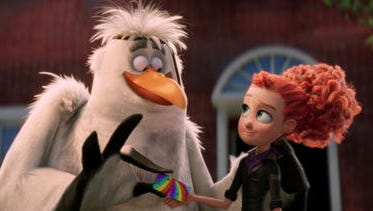 "This image released by Warner Bros. Pictures shows characters Jasper, voiced by Danny Trejo, left, and Tulip, voiced by Katie Crown in a scene from ""Storks."" (Warner Bros. Pictures via AP)"