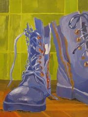 "Amber McGonegal, ""Lonely Boots,"" Gouache on Bristol"