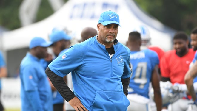 Lions defensive coordinator Teryl Austin on the field during practice.
