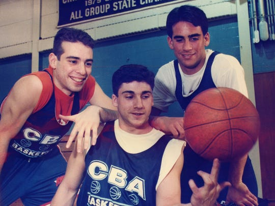 The CBA trio of (from left-to-right) Frank DeBlasi, Greg Gaffney and Geoff Billet during the 1994-95 season.