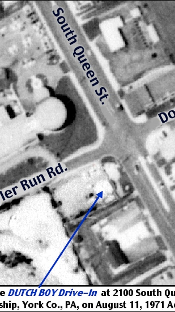 Locating the Dutch Boy Drive-In at 2100 South Queen Street, York Township, York County, PA; on August 11, 1971 historic aerial photo from Penn Pilot web site
