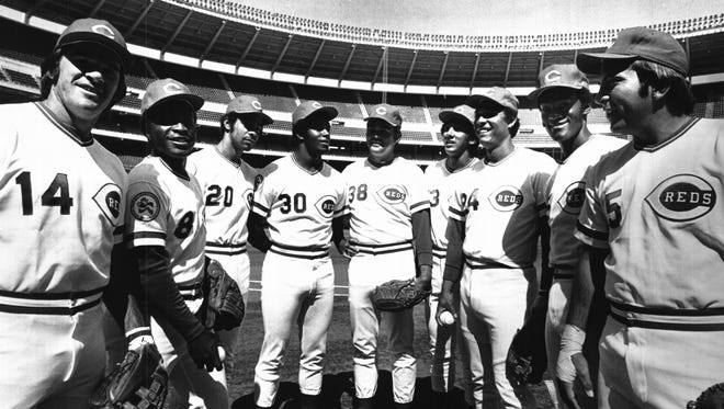 On April 8, 1976 the Reds took on the Astros In the season opener: Flanking  starting pitcher Gary Nolan (38) from the left are Pete Rose, Joe Morgan, Cesar Geronimo and Ken Griffey. From the right are Dave Concepcion, Tony Perez, George Foster and Johnny Bench.