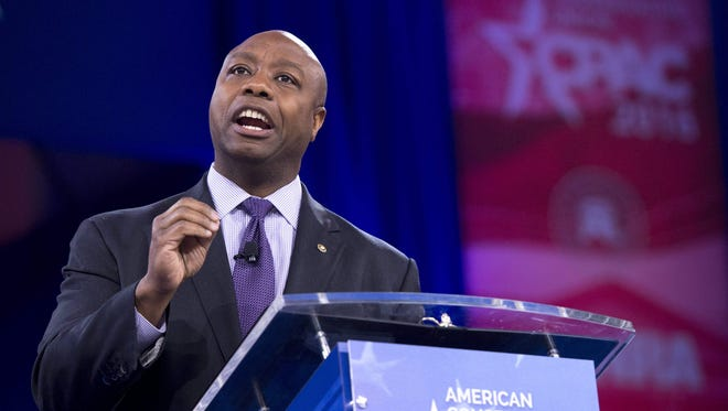 U.S. Sen. Tim Scott, R-S.C., speaks at the annual Conservative Political Action Conference (CPAC) at National Harbor in Oxon Hill, Md., outside Washington on March 3, 2016.