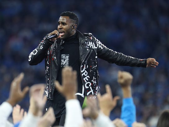 Jason Derulo, in this photo during halftime at Ford