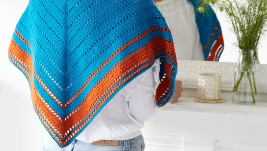This shawl is shown in Navajo colors, but it could
