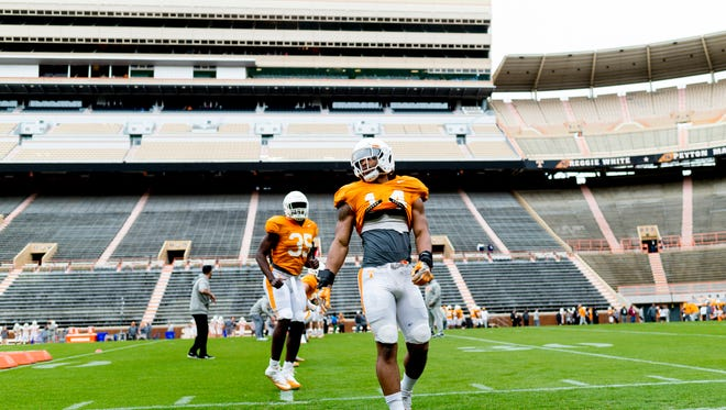 Tennessee linebacker Quart'e Sapp (14) walks on the field during Tennessee spring practice at Neyland Stadium in Knoxville, Tennessee on Saturday, April 7, 2018.