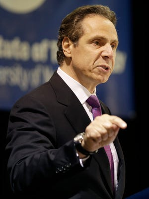 New York Gov. Andrew Cuomo speaks at the Fashion Institute of Technology in New York, Monday, May 11, 2015.