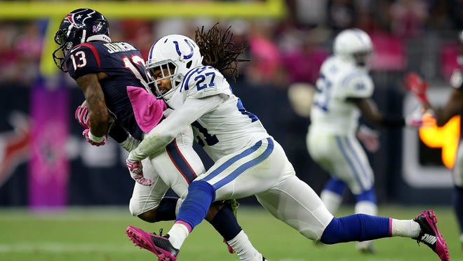 Colts cornerback Josh Gordy, shown here against Houston's Andre Johnson, will start in place of Vontae Davis vs. Cleveland.