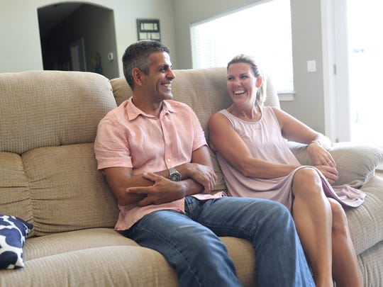 Rudy Blanco laughs, with his wife Shelly at his side, as they celebrate his release at his home in Perry, Fla. on Thursday, Aug. 31, 2017.