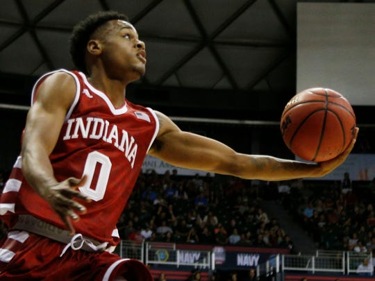 Indiana Hoosiers guard Curtis Jones (0) takes a shot