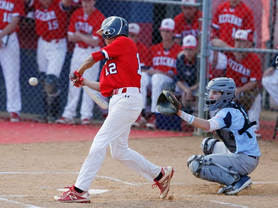 Ketcham's Phoenix Bowman gets a hit during Thursday's game versus John Jay in Wappingers Falls on April 26, 2018.