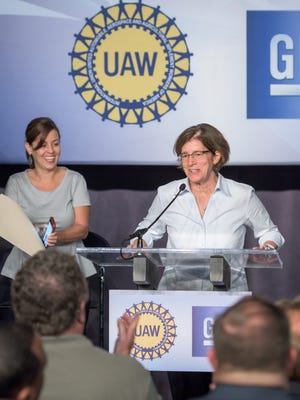 UAW General Motors Department Vice President Cindy Estrada (left) and GM Vice President North America Manufacturing and Labor Cathy Clegg